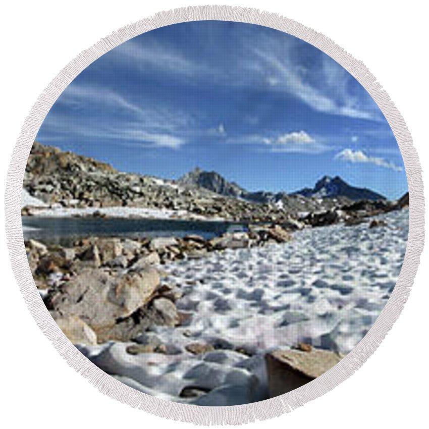 Sierra Round Beach Towel featuring the photograph Black Bear Lake Camp - Sierra by Bruce Lemons