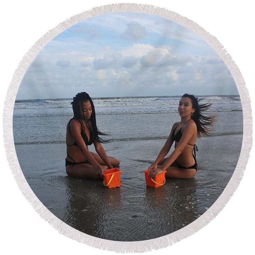 Ebony Round Beach Towel featuring the photograph Black Bikini 63 by Christopher White