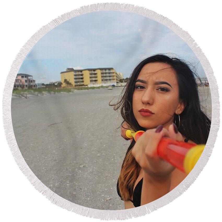 Squirt Gun Round Beach Towel featuring the photograph Black Bikinis 31 by Christopher White
