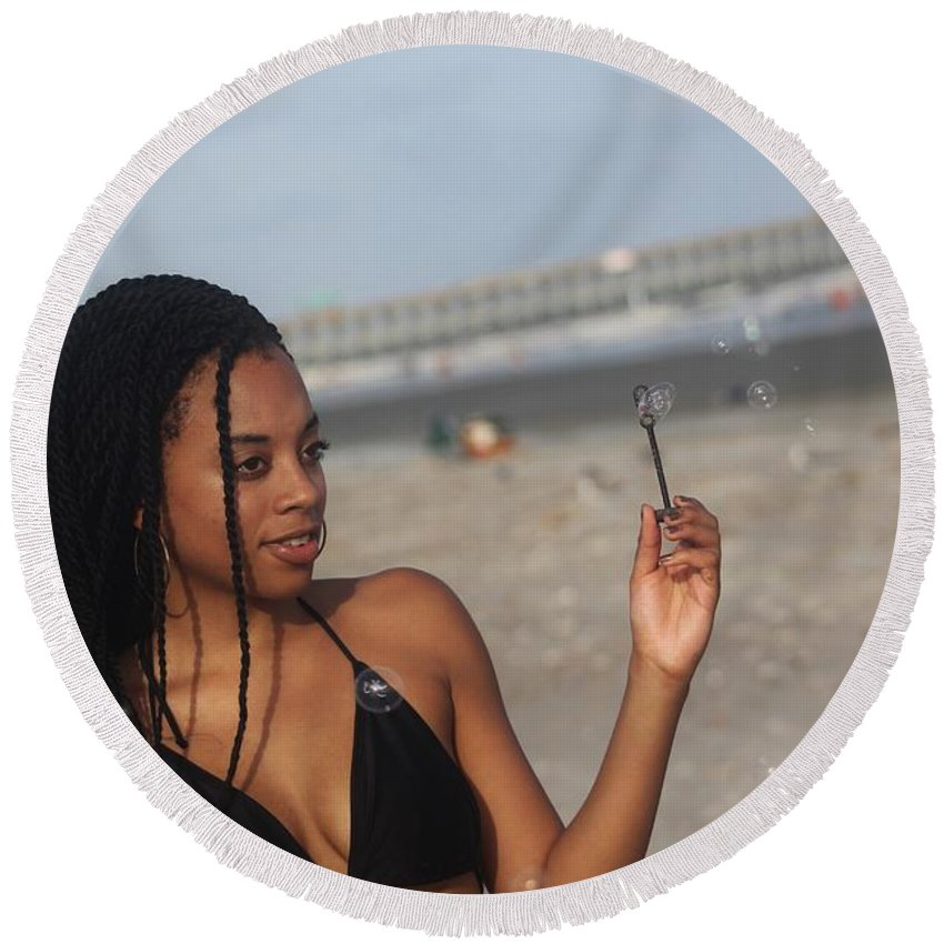 Ebony Round Beach Towel featuring the photograph Black Bikinis 56 by Christopher White