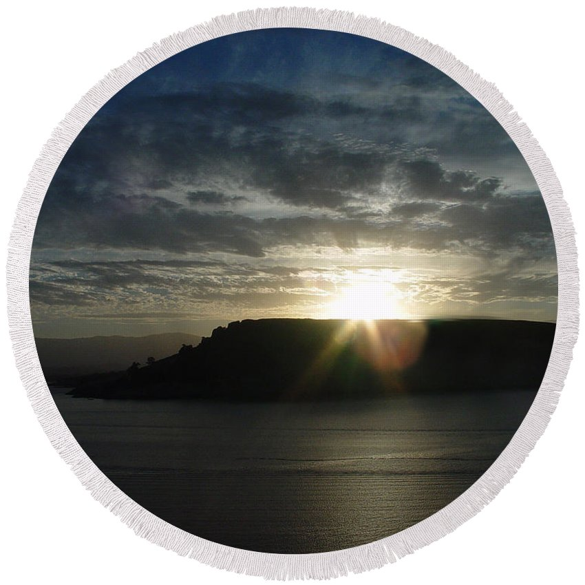 Black Butte Lake Round Beach Towel featuring the photograph Black Butte Sunrise by Peter Piatt