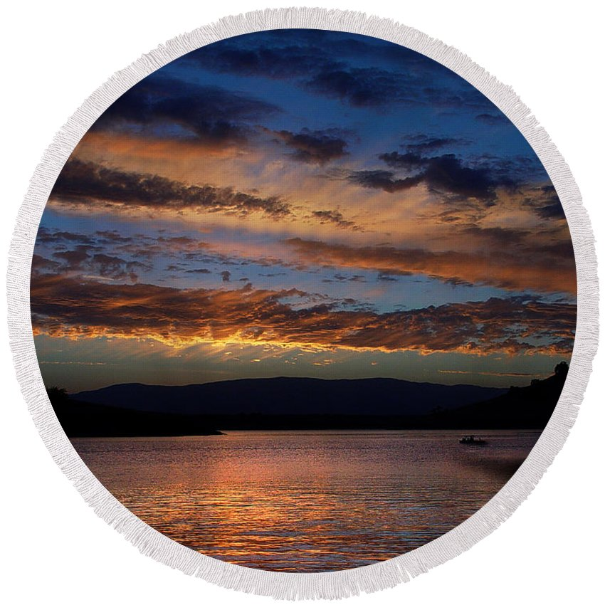 Black Butte Sunset Round Beach Towel featuring the photograph Black Butte Sunset by Peter Piatt