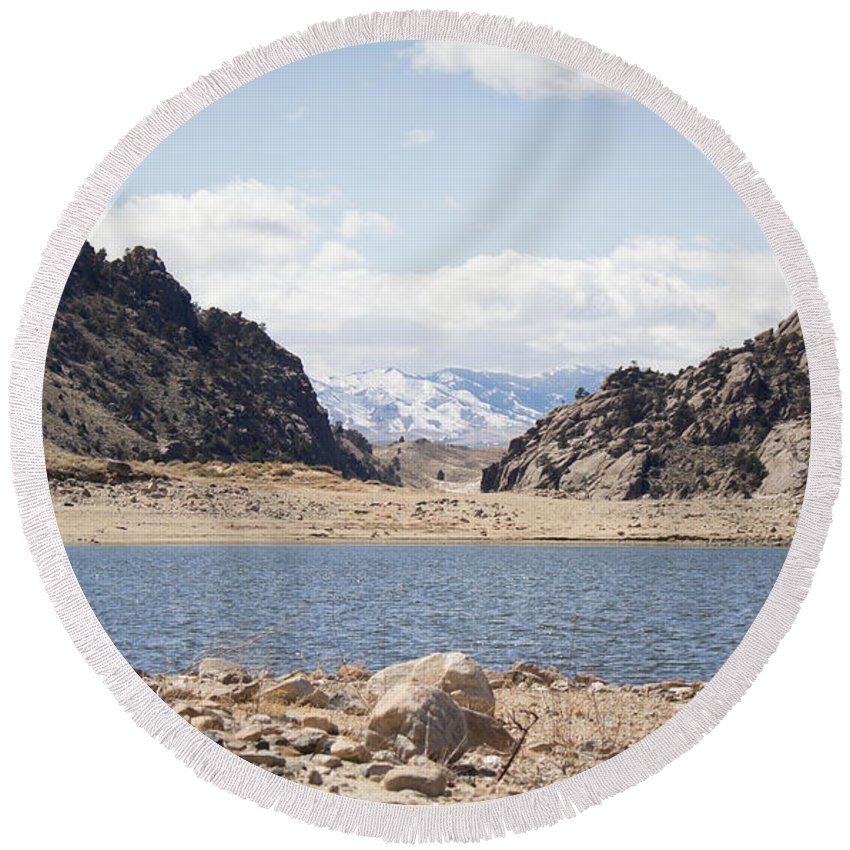 Pathfinder Reservoir Round Beach Towel featuring the photograph Black Canyon View - Pathfinder Reservoir - Wyoming by Diane Mintle