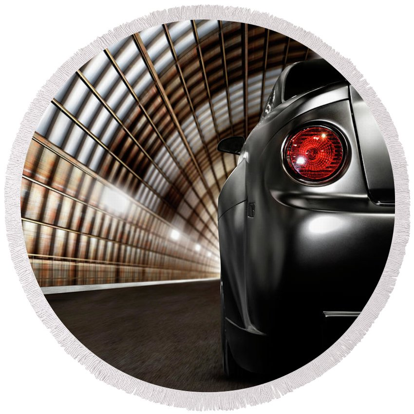 Car Round Beach Towel featuring the photograph Black Car In A Tunnel by Maxim Images Prints
