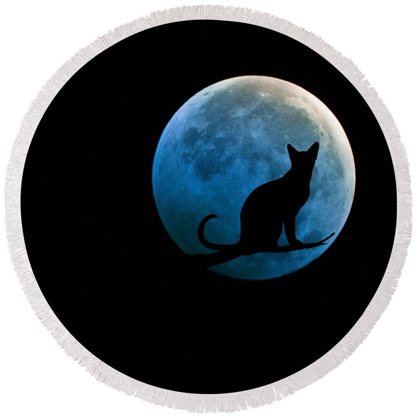 Full Moon Round Beach Towel featuring the digital art Black Cat And Blue Full Moon by Marianna Mills