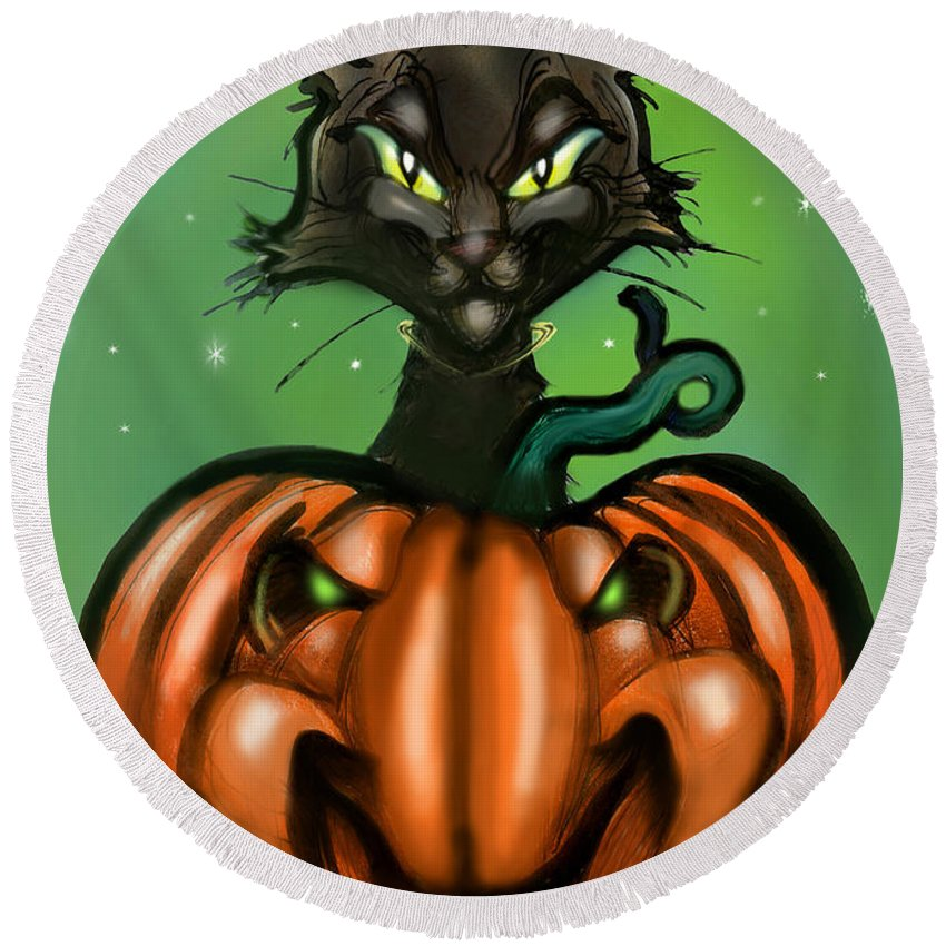 Halloween Round Beach Towel featuring the greeting card Black Cat N Pumpkin by Kevin Middleton