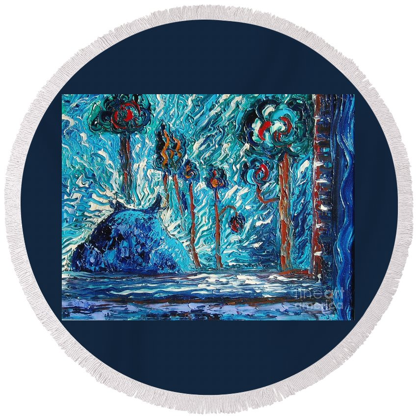 Abstract Cat Paintings Round Beach Towel featuring the painting Black Cat by Seon-Jeong Kim