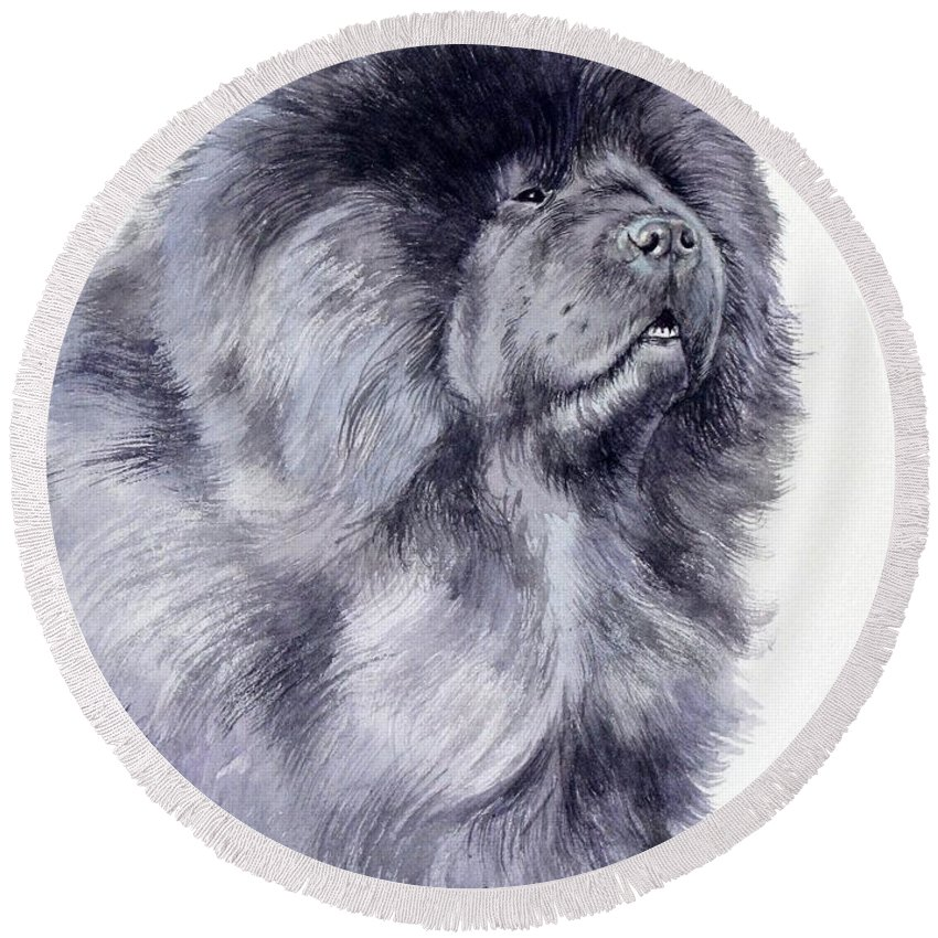 Dog Round Beach Towel featuring the painting Black Chow Chow by Christopher Shellhammer
