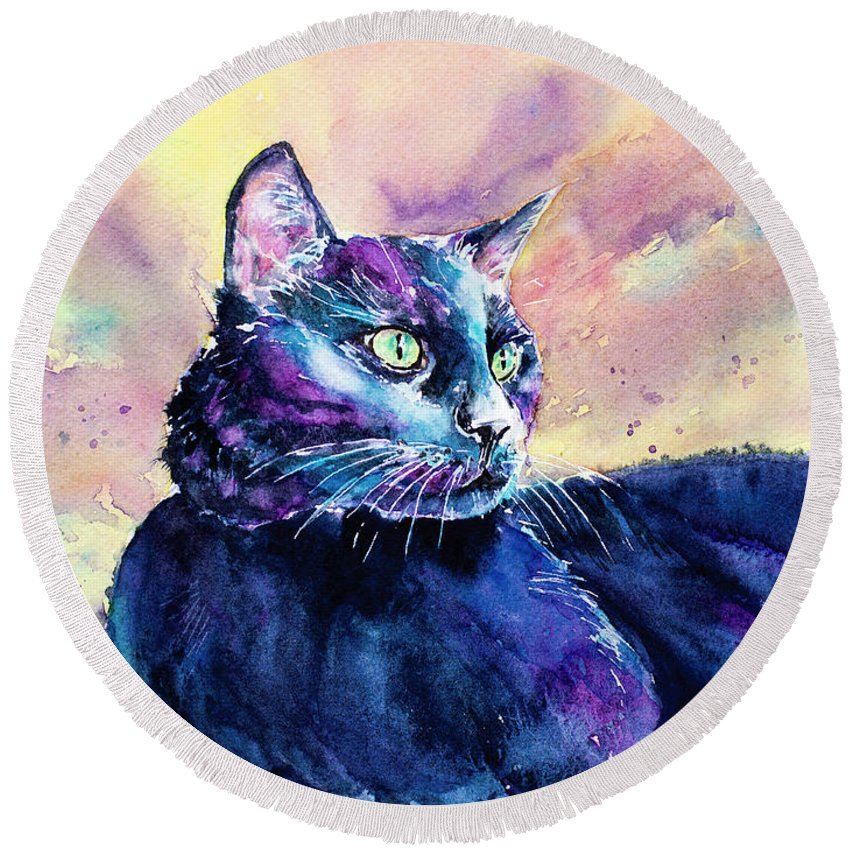 Cat Round Beach Towel featuring the painting Black Cutie by Carrie McKenzie