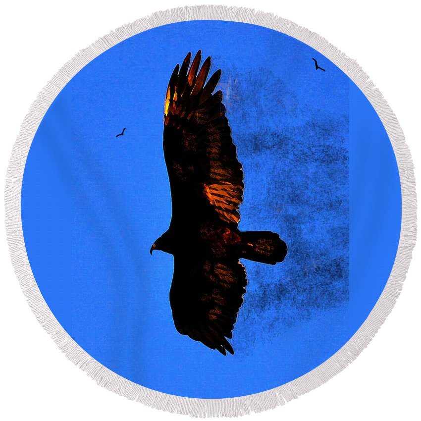 Black Eagle Round Beach Towel featuring the painting Black Eagles Vision by David Lee Thompson