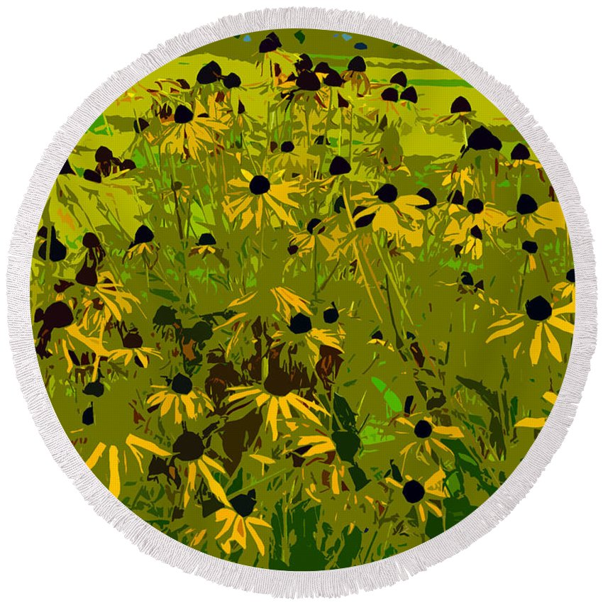 Black Eyed Susan Round Beach Towel featuring the photograph Black Eyed Susan Work Number 21 by David Lee Thompson