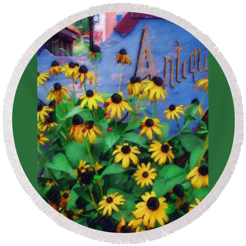Flowers Round Beach Towel featuring the photograph Black-eyed Susans At The Bag Factory by Sandy MacGowan