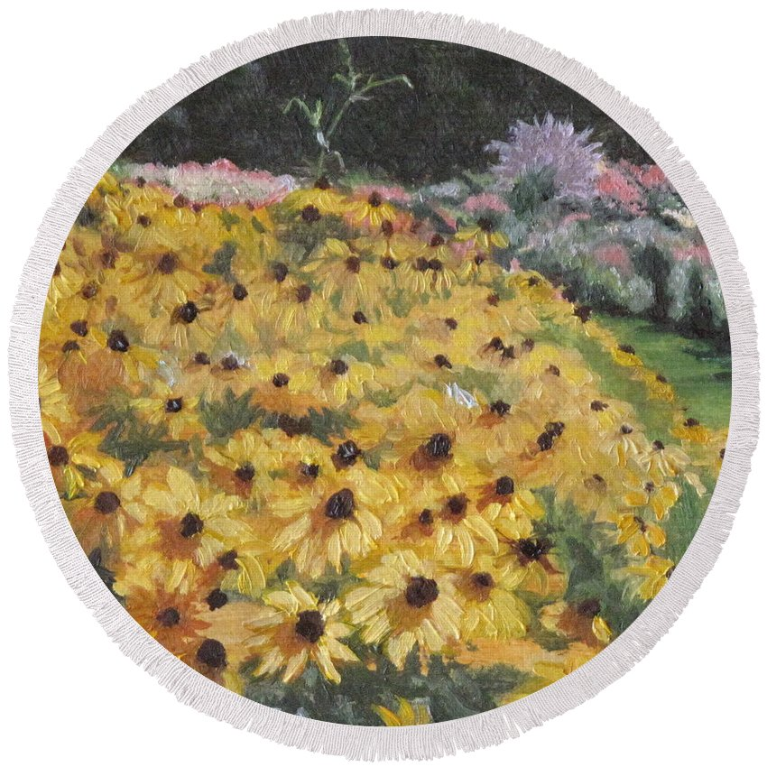 Floral Round Beach Towel featuring the painting Black-eyed Susans by Lea Novak