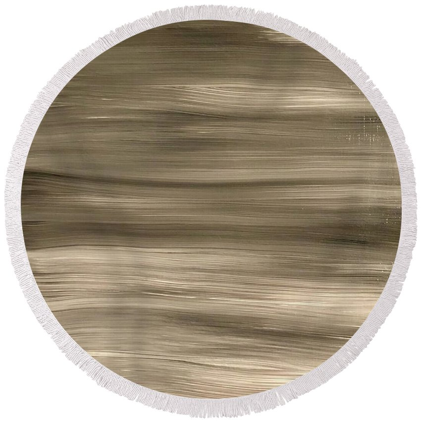 Black Round Beach Towel featuring the painting Black Fade by Marcus Mabry