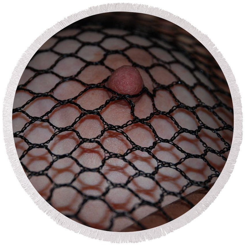 Sexy Round Beach Towel featuring the photograph Black Fishnet by Rob Hans