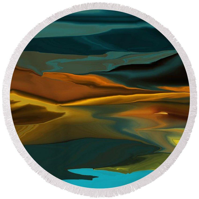 Fine Art Round Beach Towel featuring the digital art Black Hills Abstract by David Lane