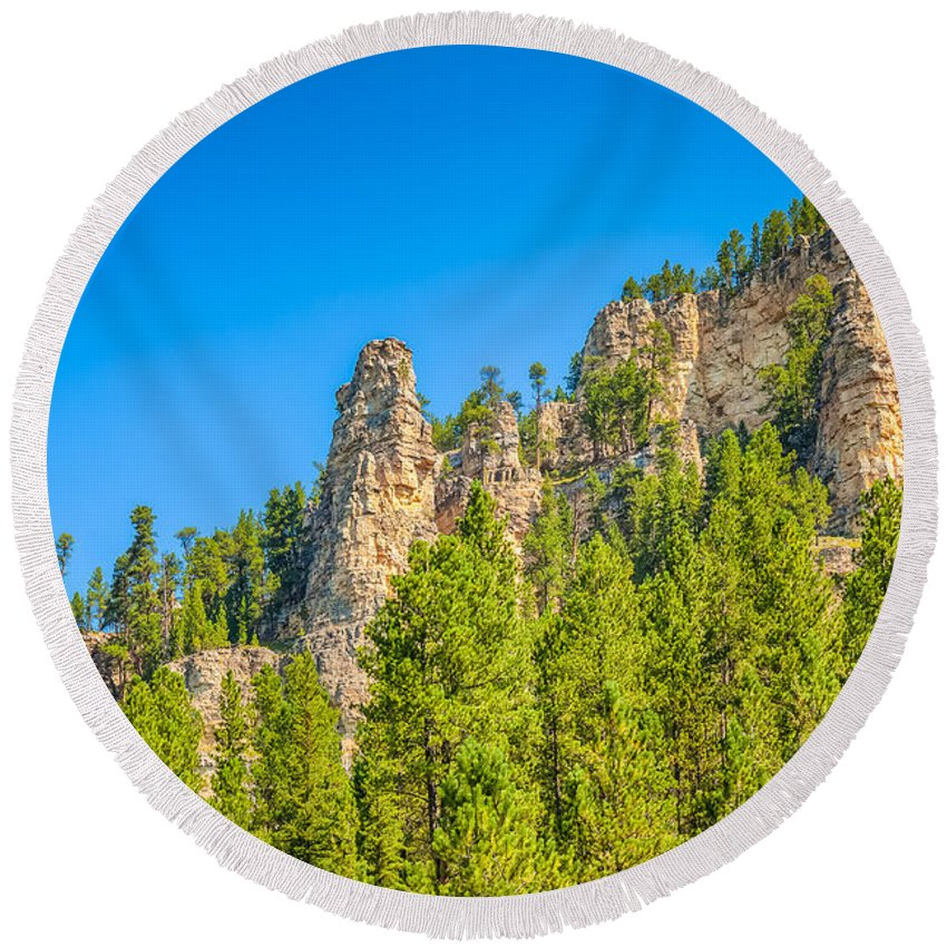 Sky Round Beach Towel featuring the photograph Black Hills Majesty by John M Bailey