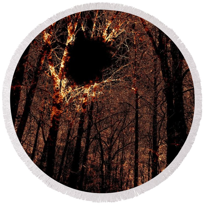 Fire Round Beach Towel featuring the photograph Black Hole Sun by Charleen Treasures