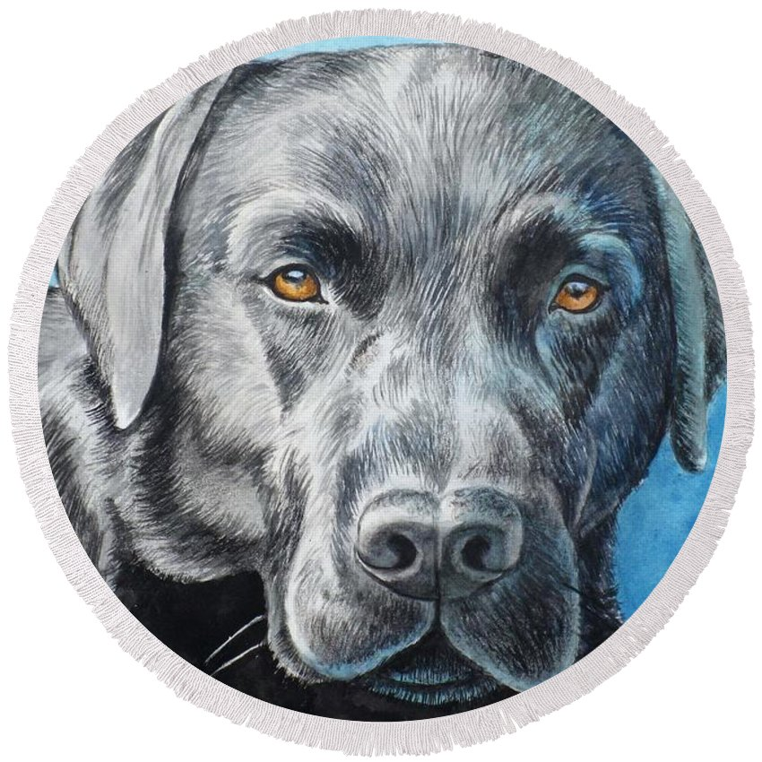 Dog Round Beach Towel featuring the painting Black Lab by Christopher Shellhammer