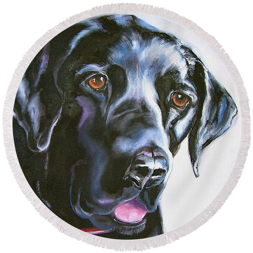 Dogs Round Beach Towel featuring the painting Black Lab No Ordinary Love by Susan A Becker