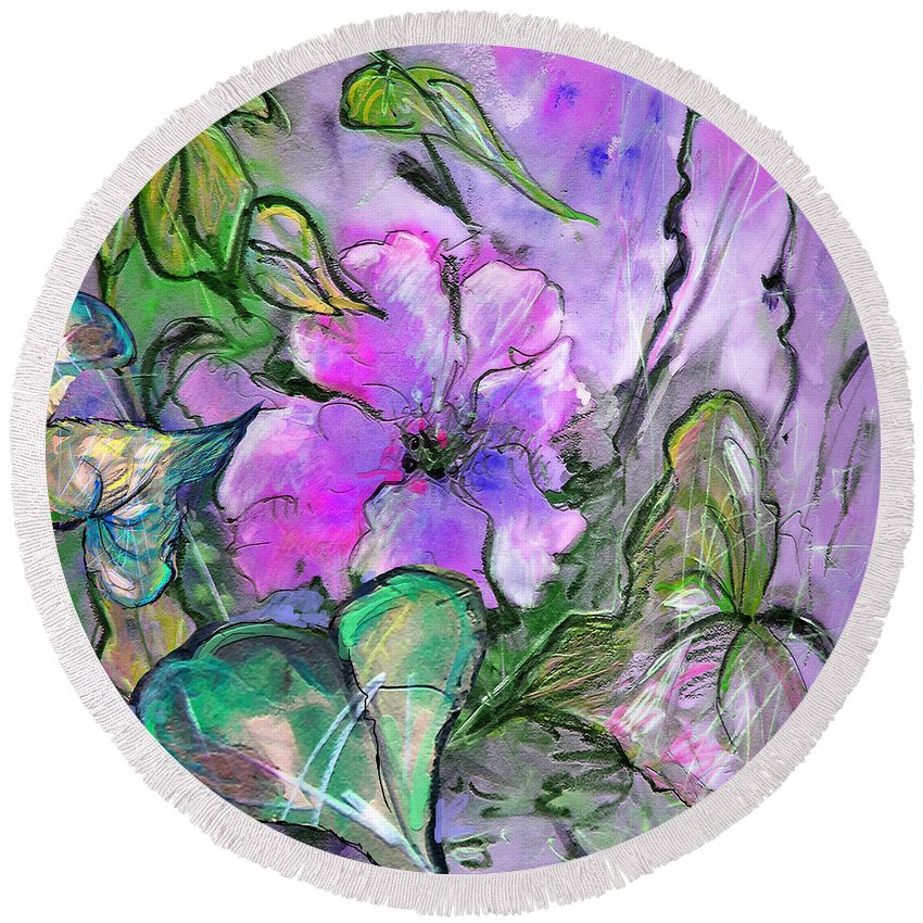Flowers Round Beach Towel featuring the painting Black Lines Of Danger by Miki De Goodaboom