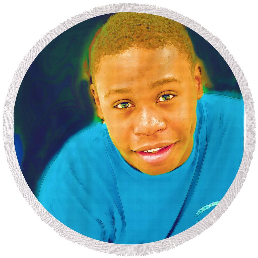 Black Round Beach Towel featuring the photograph Young Black Male Teen 5 by Ginger Wakem