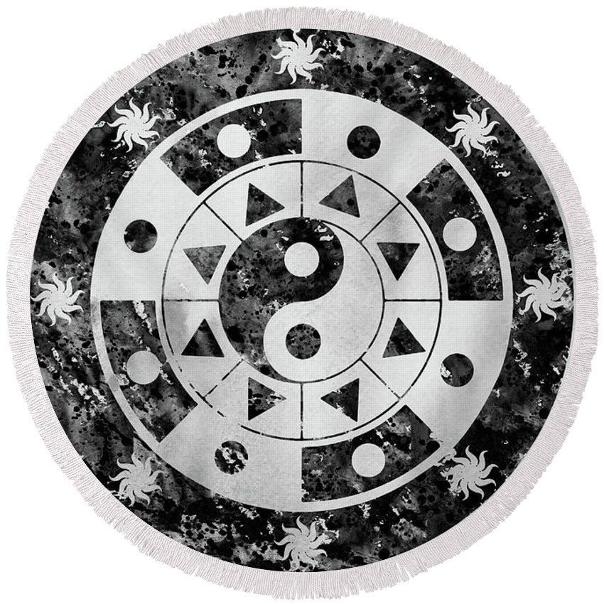 Mandala Round Beach Towel featuring the digital art Mandala-black by Erzebet S