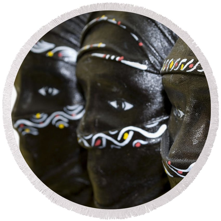 Black Round Beach Towel featuring the photograph Black Masks by Svetlana Sewell
