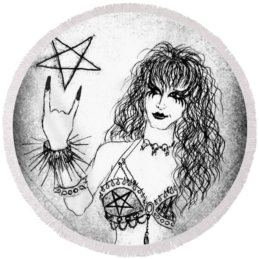 Sketch Round Beach Towel featuring the drawing Black Metal Girl. Sofia Metal Queen. Sketch by Sofia Metal Queen