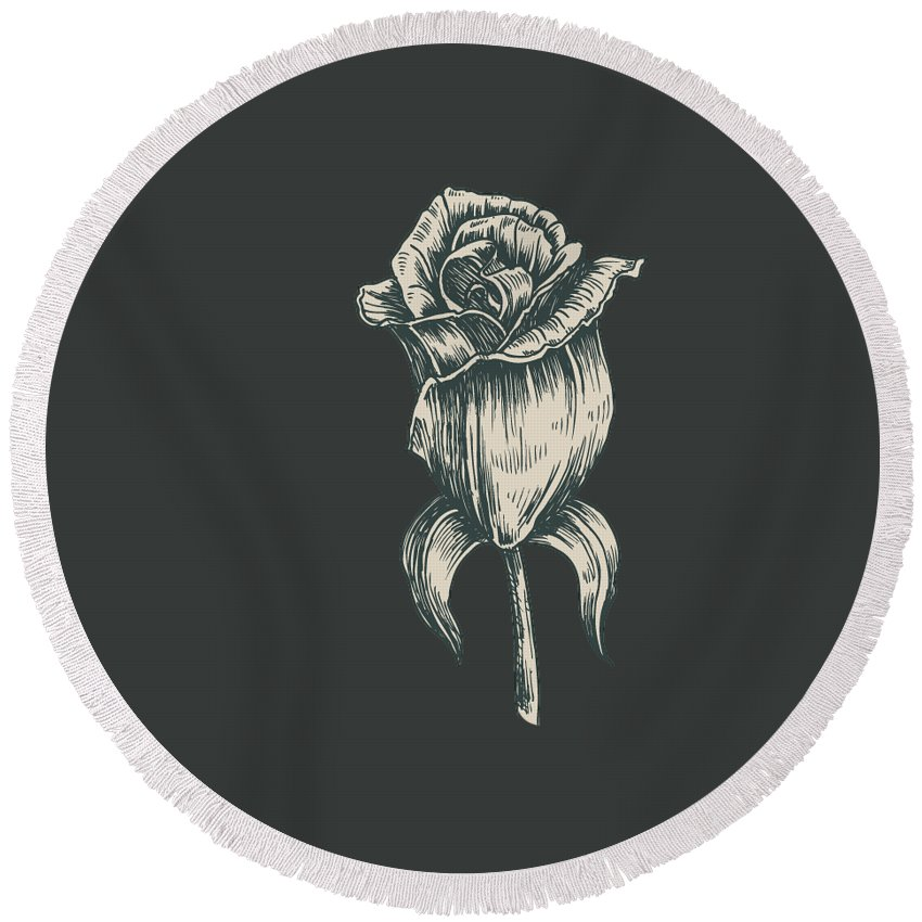 Vintage Rose Round Beach Towel featuring the digital art Black On Black by ReInVintaged