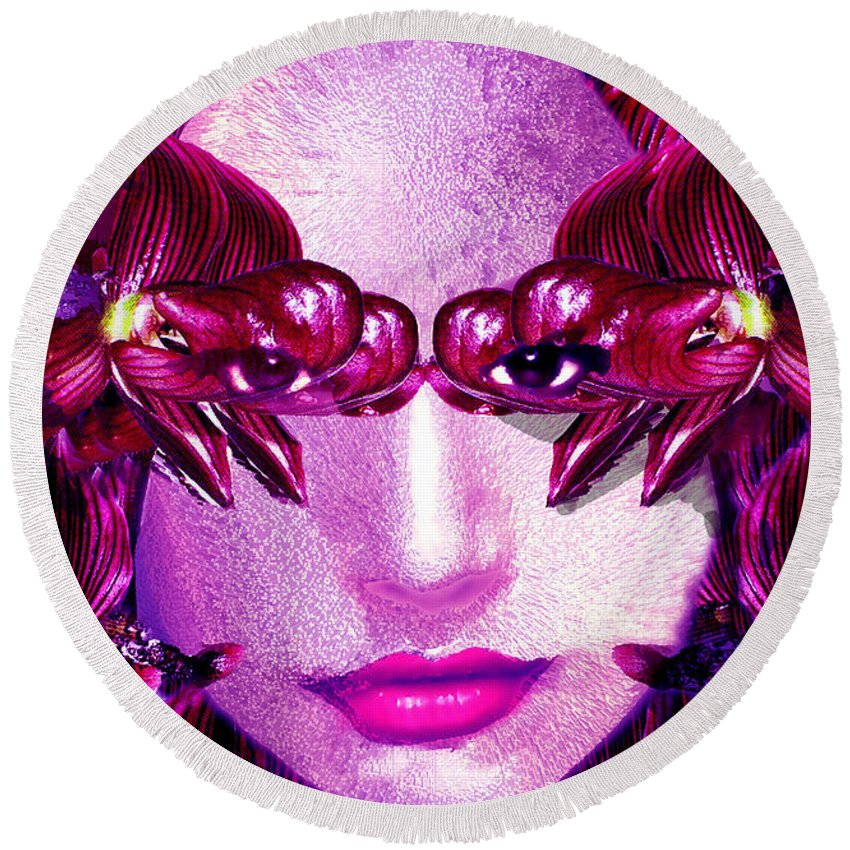 Oriental Round Beach Towel featuring the digital art Black Orchid Eyes by Seth Weaver