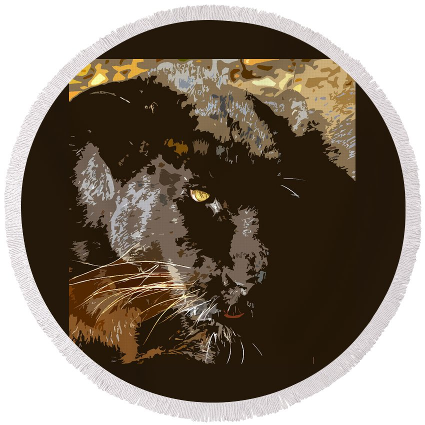 Black Panther Round Beach Towel featuring the painting Black Panther by David Lee Thompson
