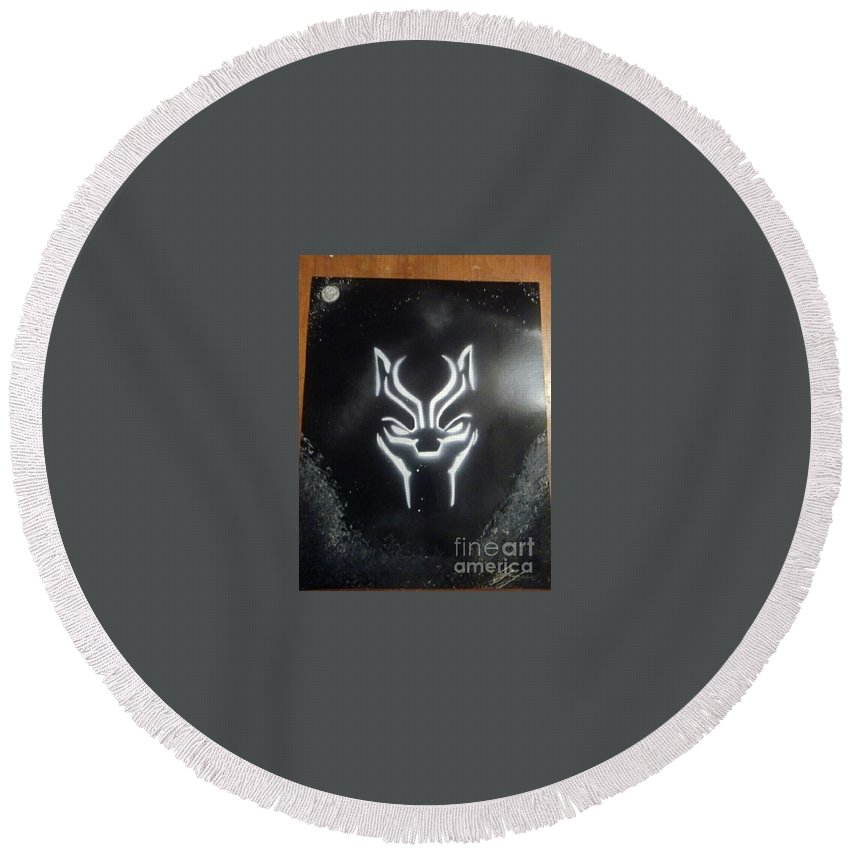 Round Beach Towel featuring the painting Black Panther by Gl Lawrence