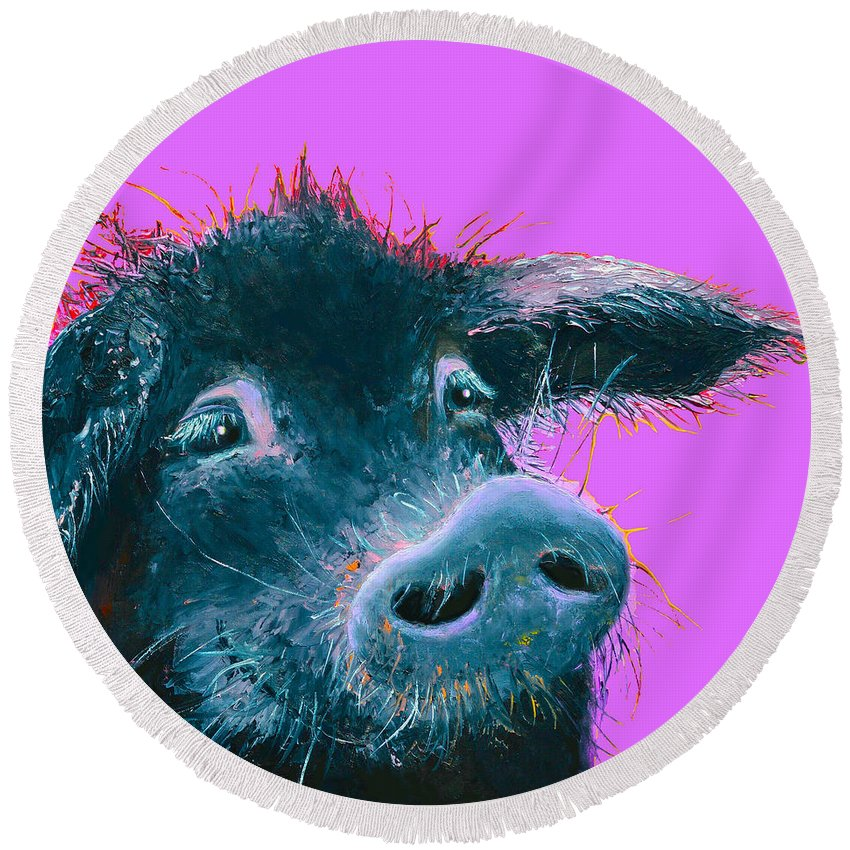Pig Round Beach Towel featuring the painting Black Pig Painting On Purple by Jan Matson