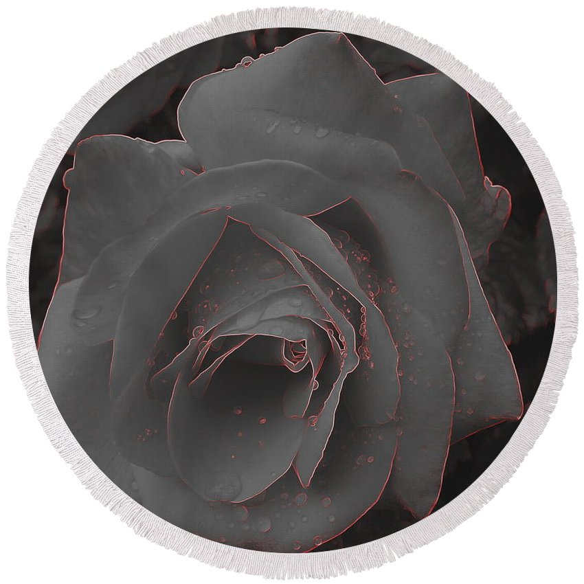 Black Round Beach Towel featuring the photograph Black Rose by Eric Wallis