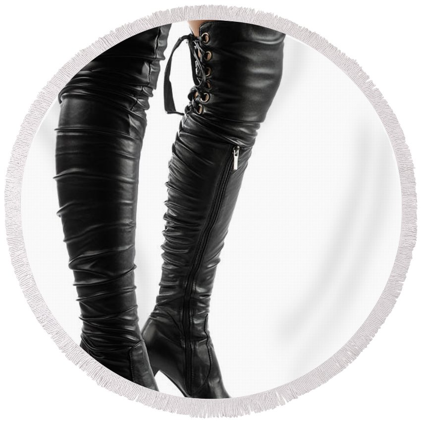 Boots Round Beach Towel featuring the photograph Black Sexy Thigh High Stiletto Boots by Maxim Images Prints