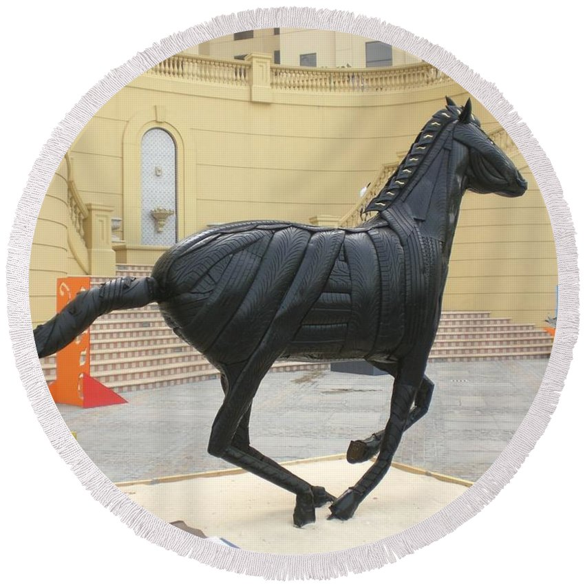 Horse Round Beach Towel featuring the sculpture Black Stalion Tyre Sculpture by Mo Siakkou-Flodin