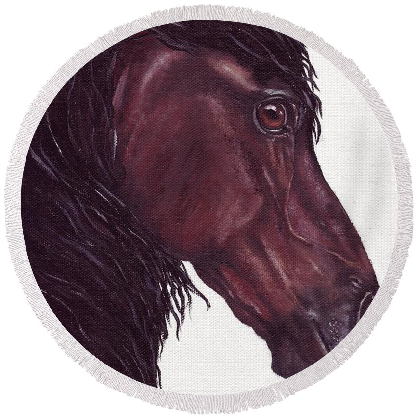 Horse Round Beach Towel featuring the painting Black Sterling I by Kristen Wesch