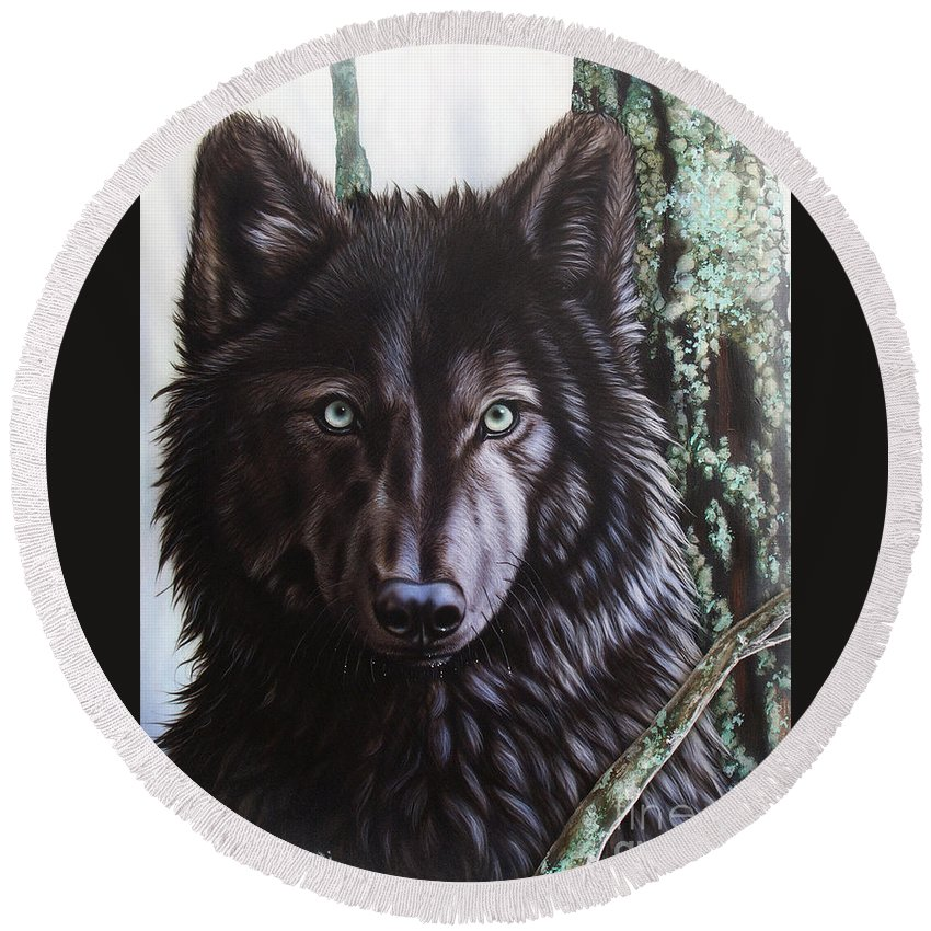 Wolves Round Beach Towel featuring the painting Black Wolf by Sandi Baker