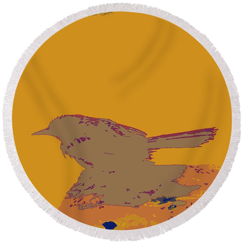 Blackbird Sits On Post Round Beach Towel featuring the digital art Blackbird 2 by Chris Taggart