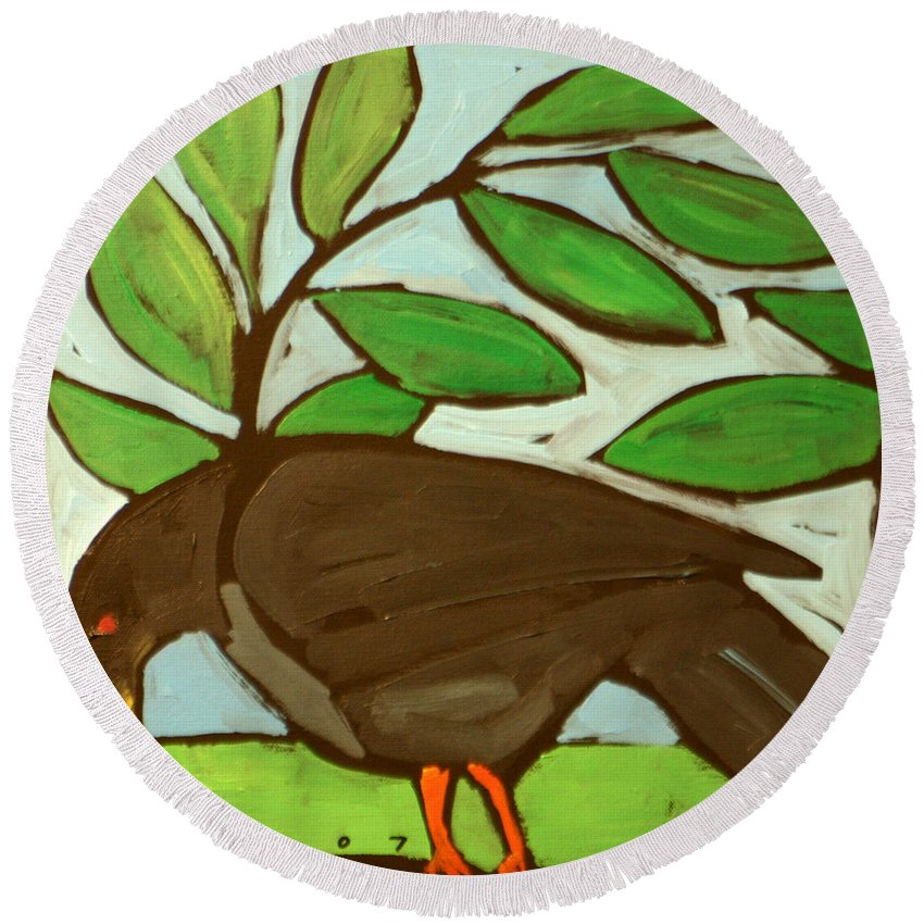 Bird Round Beach Towel featuring the painting Blackbird by Tim Nyberg