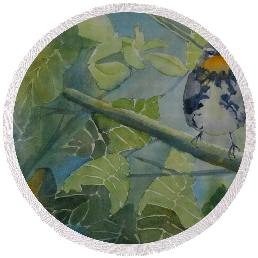 Bird Round Beach Towel featuring the painting Blackburnian Warbler I by Ruth Kamenev