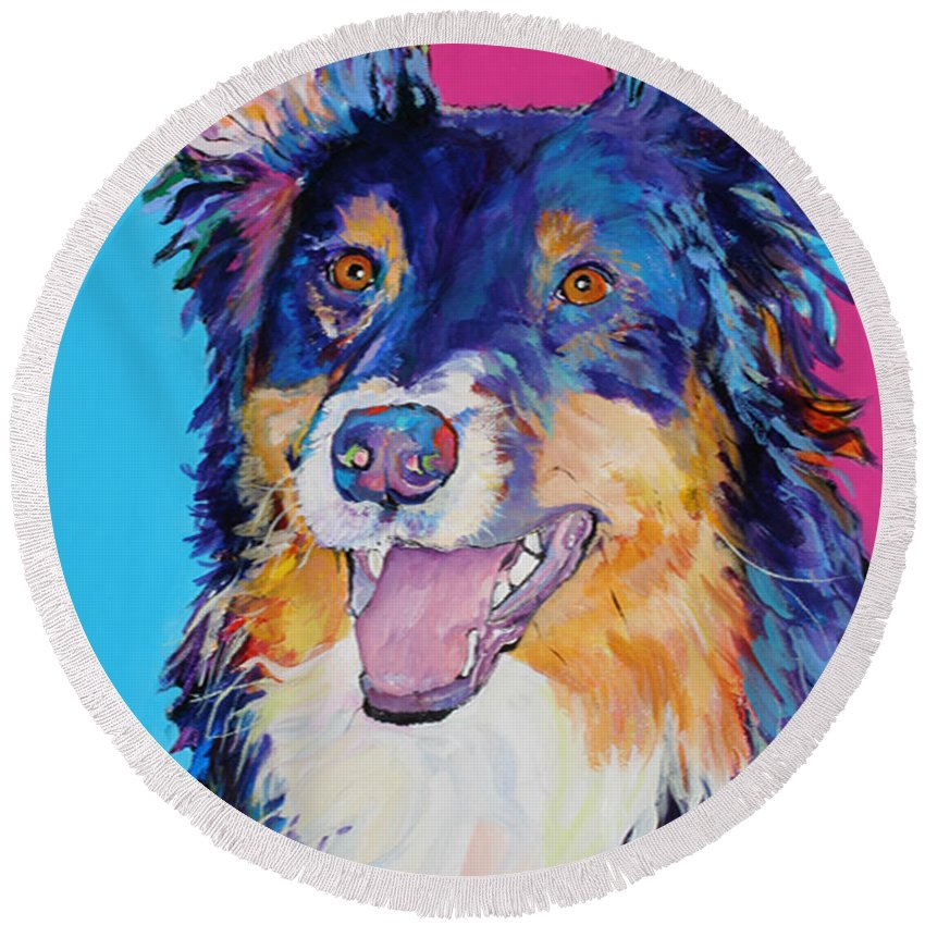Dog Round Beach Towel featuring the painting BlackJack by Pat Saunders-White