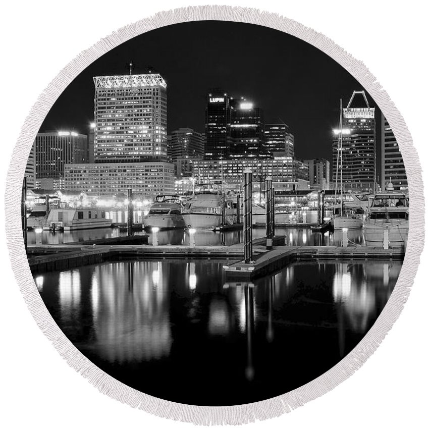 Baltimore Round Beach Towel featuring the photograph Blackness In The Harbor by Frozen in Time Fine Art Photography