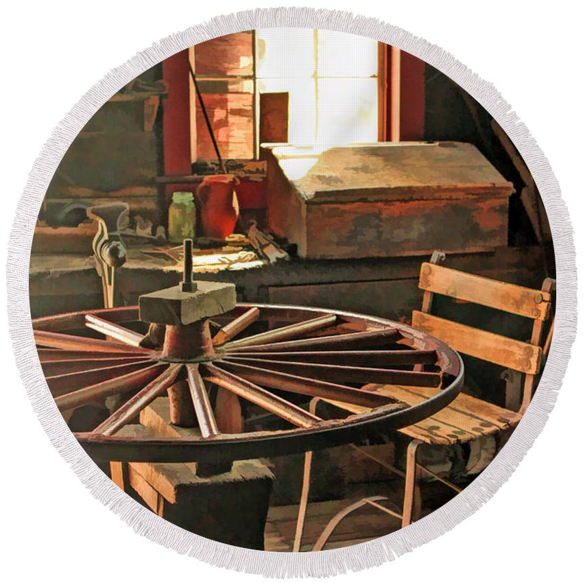 Old World Wisconsin Round Beach Towel featuring the painting Blacksmith Shop Wheel Repair At Old World Wisconsin by Christopher Arndt