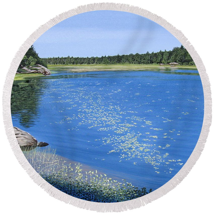 Landscapes Round Beach Towel featuring the painting Blackstone Bog by Kenneth M Kirsch