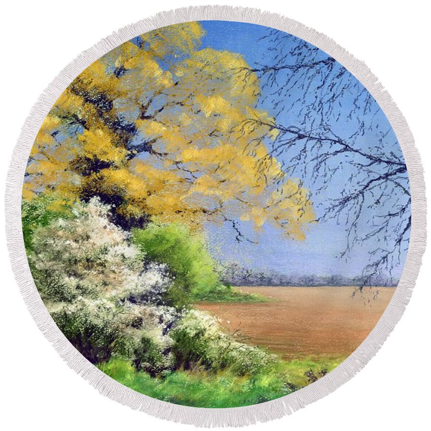 Landscape; Tree; Trees; Field; Nature; Rural; Countryside; Oak Tree; Picturesque; Grass; Blackthorn; Landscape Round Beach Towel featuring the painting Blackthorn Winter by Anthony Rule