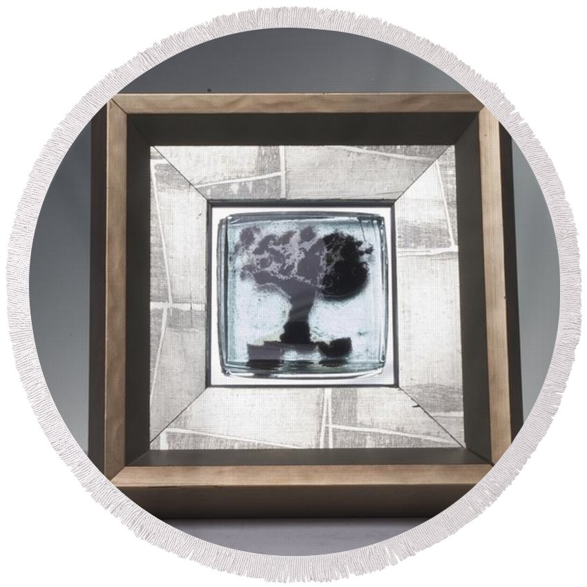 Framed Round Beach Towel featuring the photograph Blacktree Framed by Mykel Davis
