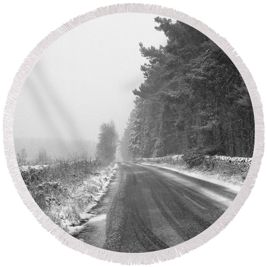Round Beach Towel featuring the photograph Blanchland Road In Winter, Slaley Woods by Iain Duncan