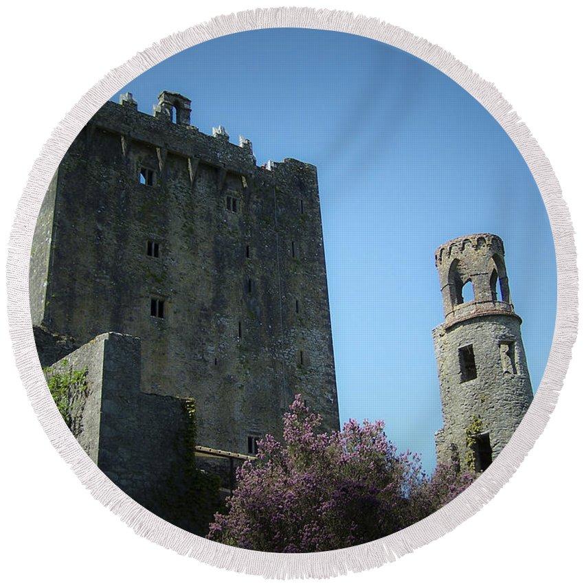 Irish Round Beach Towel featuring the photograph Blarney Castle And Tower County Cork Ireland by Teresa Mucha